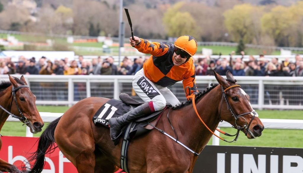 Aidan Coleman celebrates after winning the Sporting Life Arkle Challenge Trophy on Put The Kettle On at the 2020 Cheltenham Festival