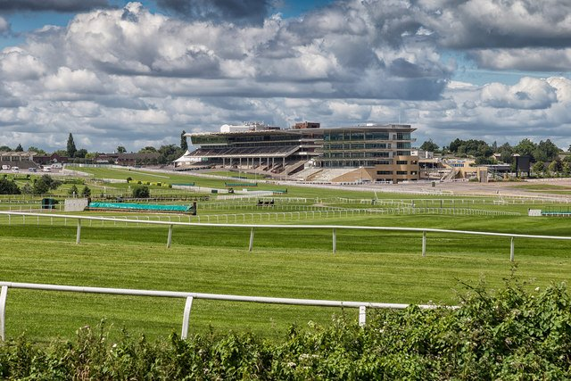 The grandstand at Cheltenham Racecourse in Cheltenham, Gloucestershire, England