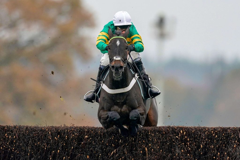 Chantry House and Nico De Boinville jump the last at Ascot Racecourse in November 2020