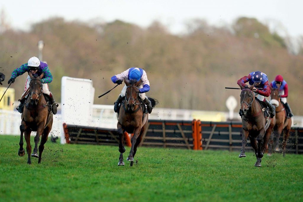 Paisley Park, Thyme Hill and Roksana in the Long Grade 1 Walk Hurdle at Ascot Racecourse in December 2020