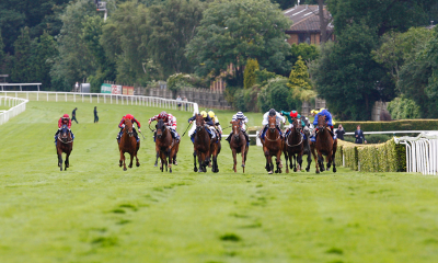 Horses racing at Sandown Park Racecourse in Esher, Surrey, England