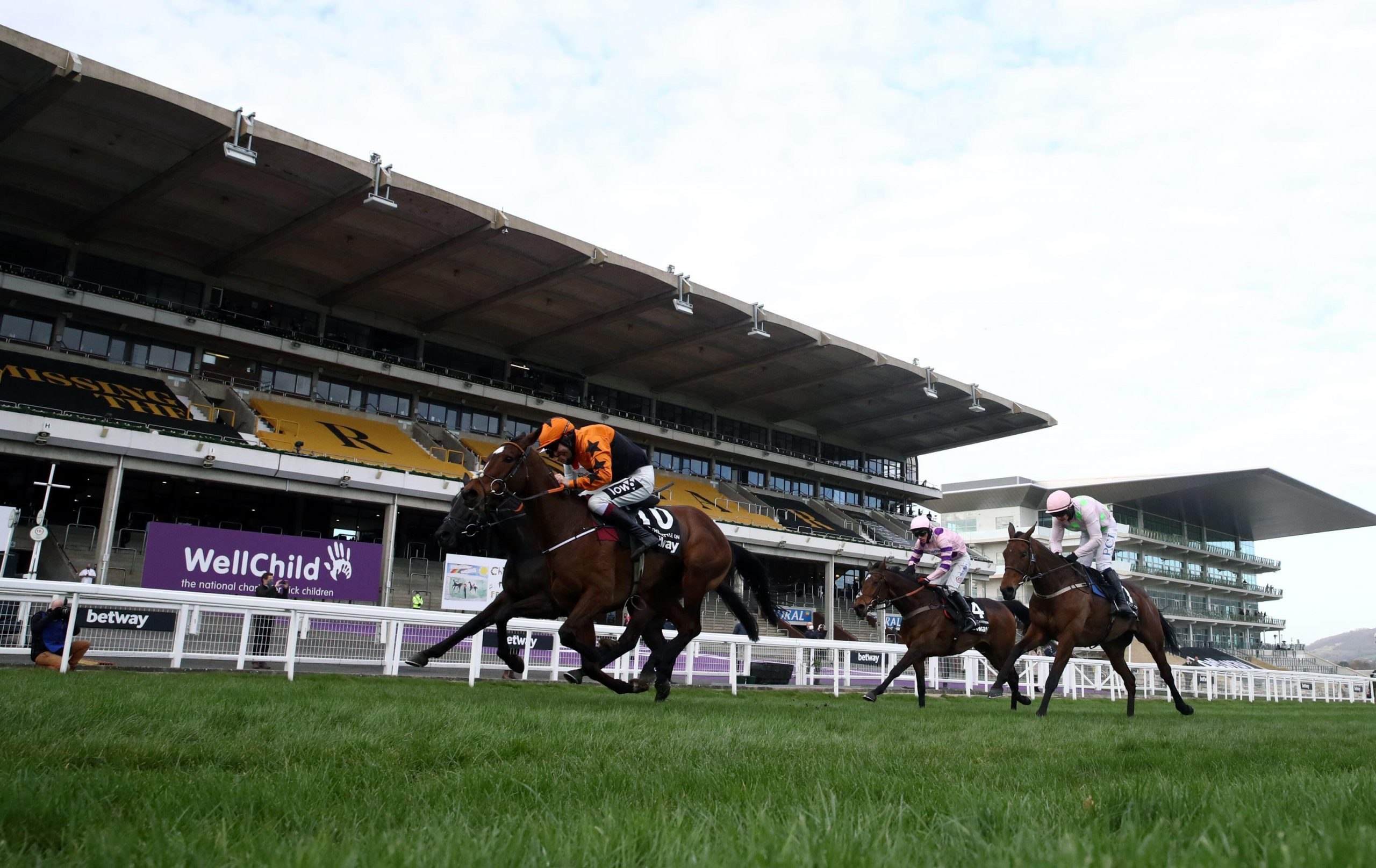 Put The Kettle On ridden by Aidan Coleman on their way to winning the Betway Queen Mother Champion Chase on day two of the Cheltenham Festival at Cheltenham Racecourse. Picture date: Wednesday March 17, 2021.