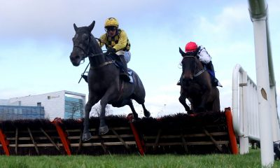 Gaillard Du Mesnil ridden by Paul Townend (left) clears a fence on their way to winning the Nathaniel Lacy & Partners Solicitors '50k Cheltenham Bonus For Stable Staff' Novice Hurdle during day one of the Dublin Racing Festival at Leopardstown Racecourse.