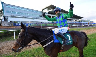 2DYP23A Paul Townend riding Appreciate It after winning the Paddy Power Future Champions Novice Hurdle at Leopardstown Racecourse, Dublin.