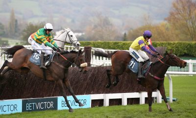 Happy Diva ridden by Richard Patrick (right) jumps the last to win The BetVictor Gold Cup Handicap during the November Meeting at Cheltenham Racecourse, Cheltenham.