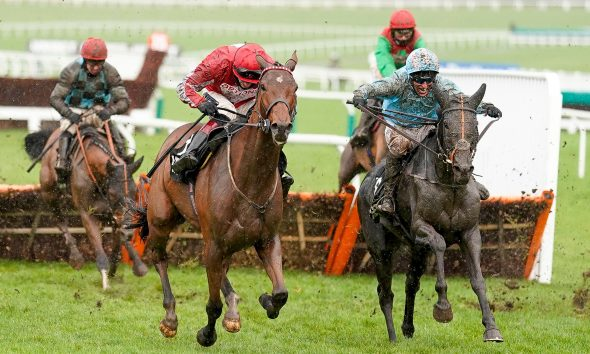 2DAW8G0 The Shunter ridden by jockey Robbie Power (right) clear the last to win The Unibet Greatwood Handicap Hurdle during the Cheltenham November Meeting 2020 at Cheltenham Racecourse.