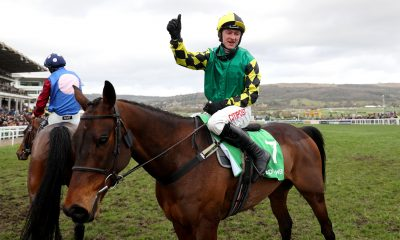 Adam Wedge celebrates victory in the Paddy Power Stayers' Hurdle aboard Lisnagar Oscar at the 2020 Cheltenham Festival