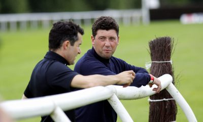 2C8D02E Trainer Olly Murphy (right) with jockey Aidan Coleman at Uttoxeter Racecourse.