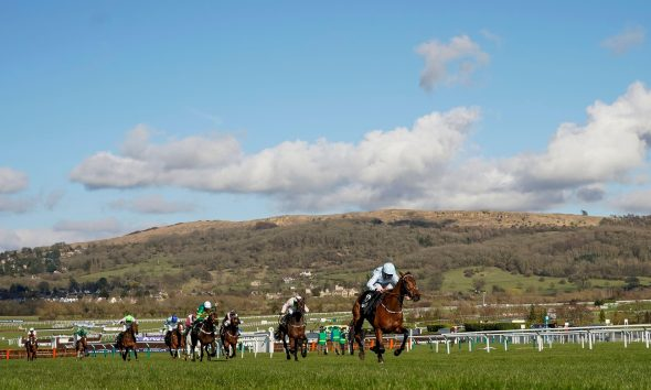 Rachael Blackmore riding Honeysuckle clear the last to win The Unibet Champion Hurdle Challenge Trophy during day one of the Cheltenham Festival at Cheltenham Racecourse. Picture date: Tuesday March 16, 2021.