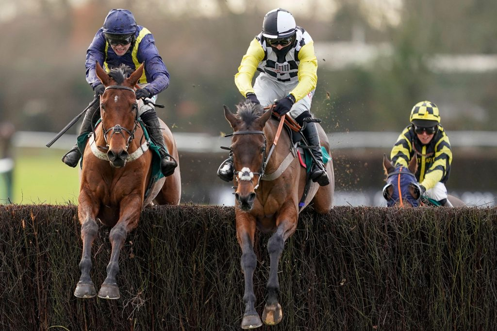 Next Destination ridden by Harry Cobden(black/white cap) clears the last to win The McCoy Contractors Civils And Infrastructure Hampton Novices' Chase followed by Fiddlerontheroof ridden by Jonjo O'Neill Jr (left) at Warwick Racecourse.