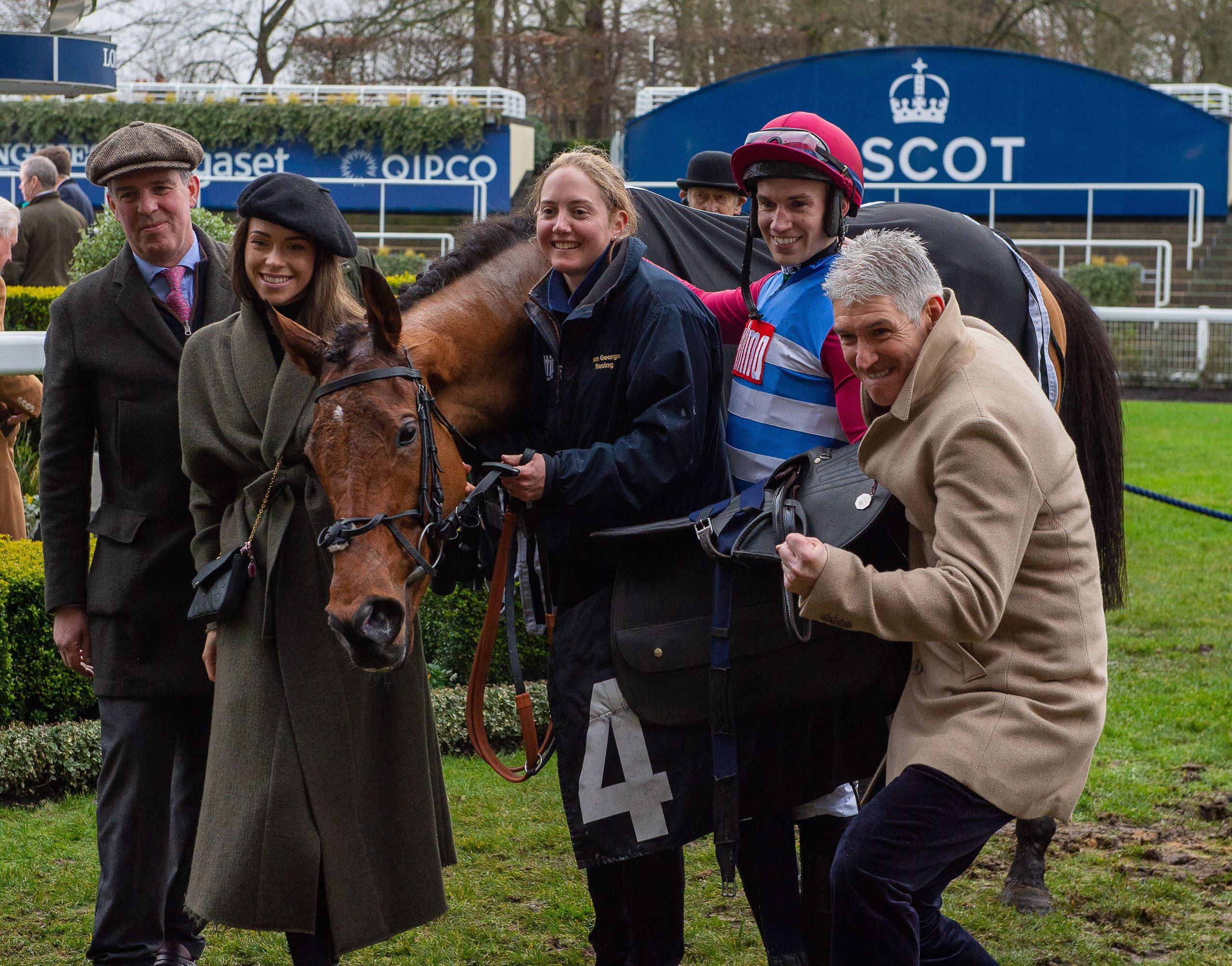 Max McNeill, Adrian Heskin and Tom George celebrates The Worlds End Grade One win at Ascot in December 2019