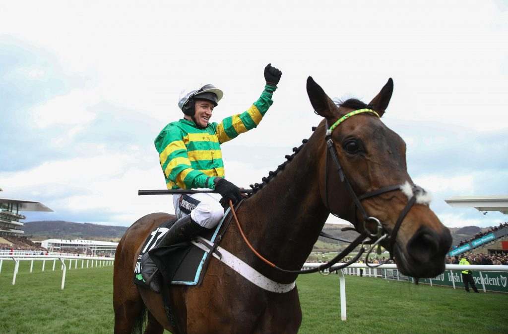 Epatante and Barry Geraghty after winning the Champion Hurdle at the 2020 Cheltenham Festival