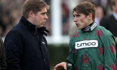 2D5XAHK Trainer Dan Skelton (left) with brother, jockey Harry Skelton during day two of the Showcase at Cheltenham Racecourse
