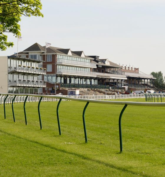 Ayr Racecourse Grandstand. Grade 1 venue hosting the Scottish Grand National and Ayr Gold Cup events. Ayrshire, Scotland, UK, Europe