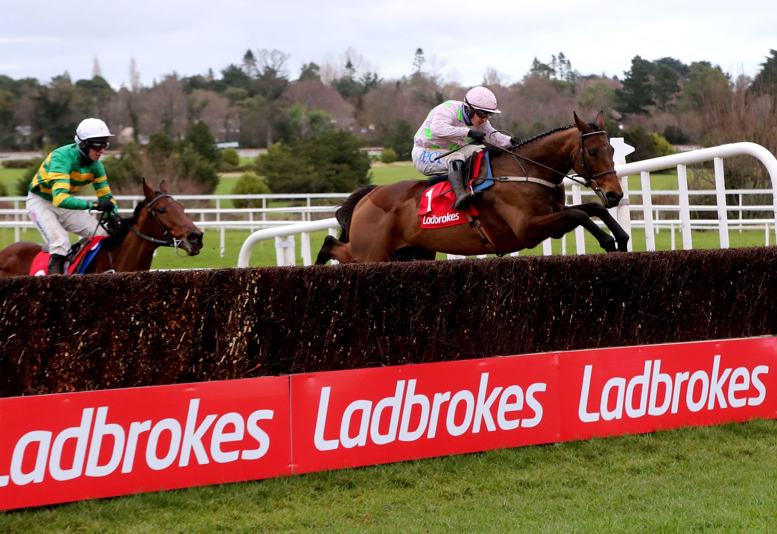 Chacun Pour Soi ridden by Paul Townend (right) clears a fence on their way to winning the Ladbrokes Dublin Chase during day one of the Dublin Racing Festival at Leopardstown Racecourse. Picture date: Saturday February 6, 2021.