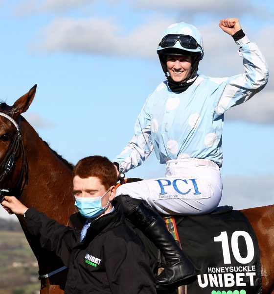 Rachael Blackmore onboard Honeysuckle celebrates after victory in the Unibet Champion Hurdle Challenge Trophy (Grade 1) during day one of the Cheltenham Festival at Cheltenham Racecourse. Picture date: Tuesday March 16, 2021.