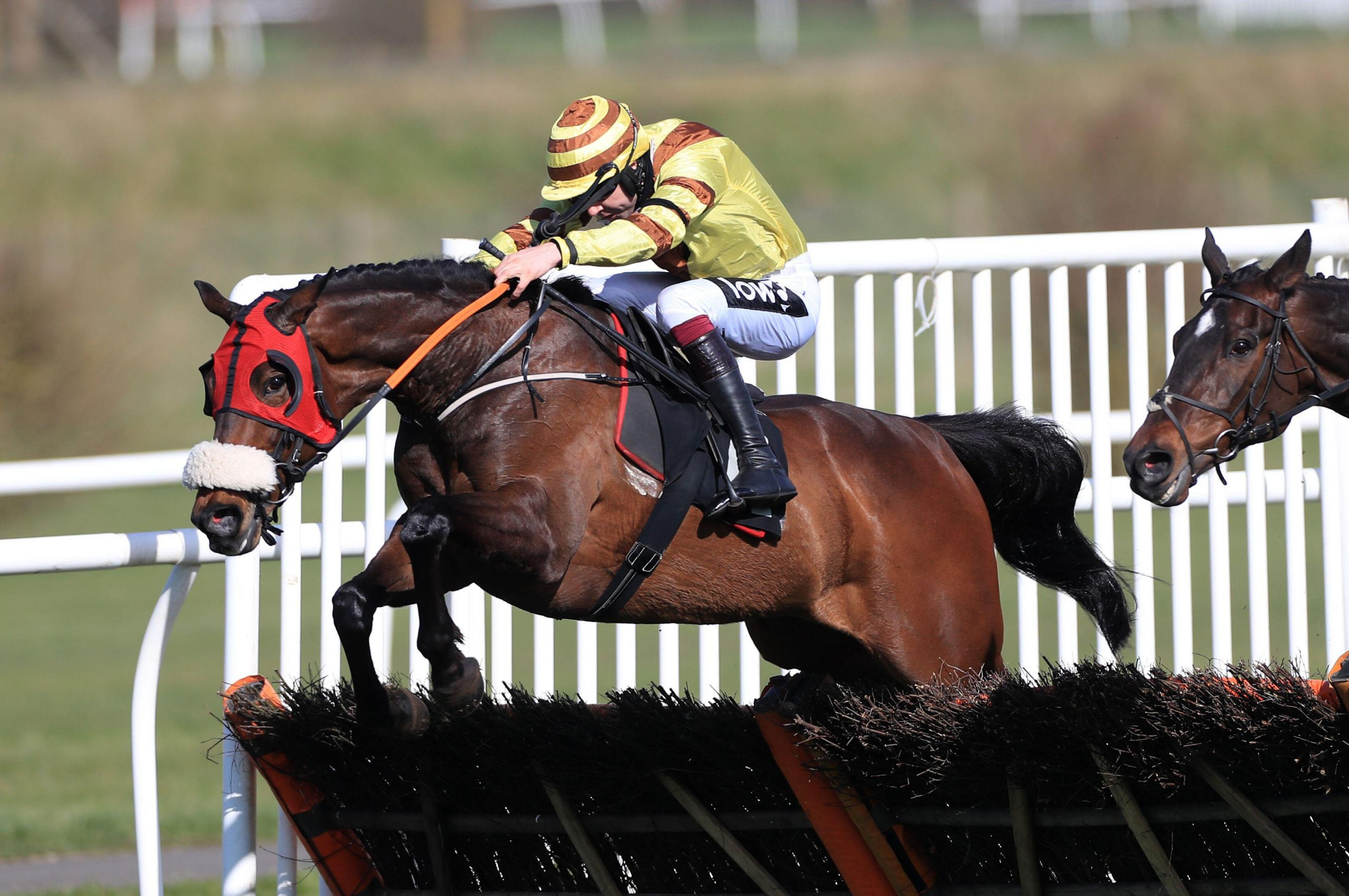 Aiden Coleman riding Made For You on their way to winning the Watch Racing TV In Stunning HD Handicap Hurdle at Market Rasen Racecourse. Picture date: Wednesday March 24, 2021.