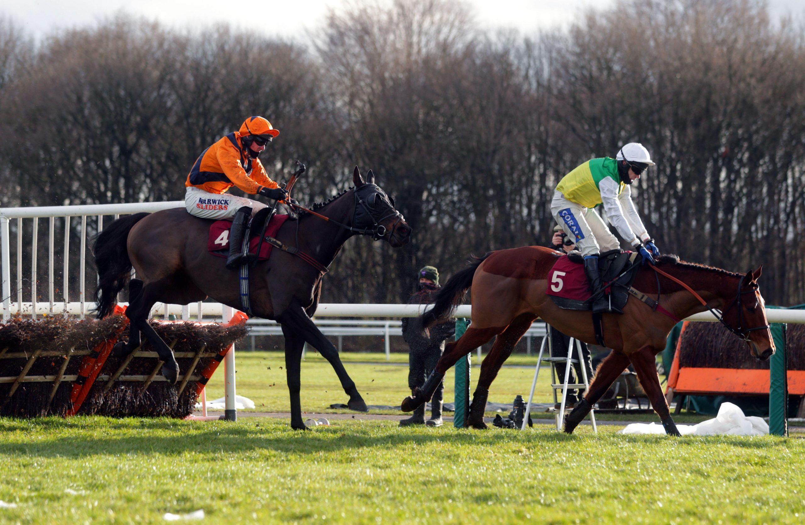 Potters Hedger ridden by Jack Quinlan (left) on their way to winning the Unibet Extra Place Races Every Day Handicap Hurdle at Haydock Park Racecourse. Picture date: Saturday January 23, 2021.