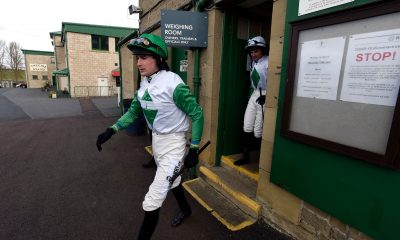 Jockey Ryan Mania leaves the weighing room for the William Hill Leading Racecourse Bookmaker Novices' Hurdle at Kelso Racecourse set to be behind closed doors due to the coronavirus.