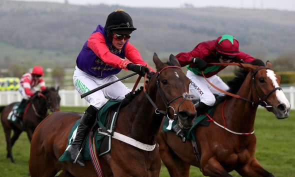 Sunshade ridden by Nico De Boinville goes on win The Catesby Estates PLC Mares' Handicap Hurdle during day two of the April Meeting at Cheltenham Racecourse.