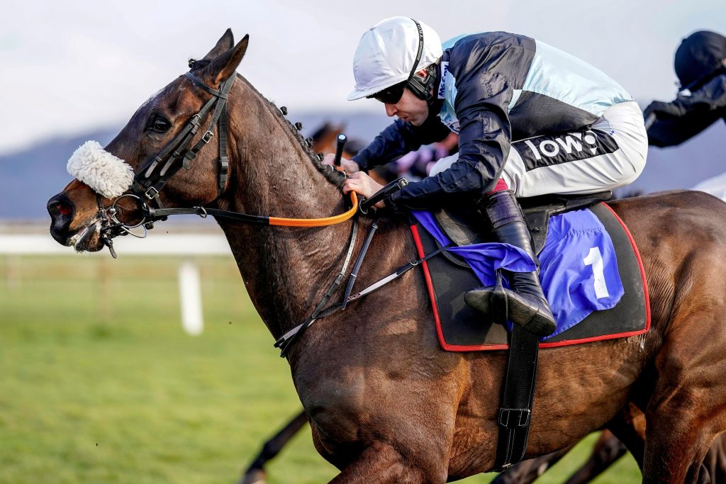 2F4WJFE Copperless ridden by Aidan Coleman on their way to winning the Ray Wonnacott 80 And Not Out Handicap Hurdle at Taunton Racecourse. Picture date: Tuesday March 23, 2021.