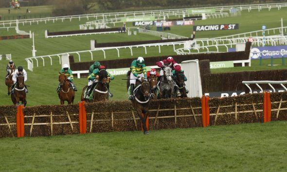 Cheltenham, UK. 14th March 2017. Buveur D'Air ridden by Noel Fehily (green-white cap) wins the Stan James Champion Hurdle Challenge Trophy Grade 1 at Cheltenham-Cheltenham-Racecourse/Great Britain. Second place: My Tent Or Yours ridden by Aidan Coleman (