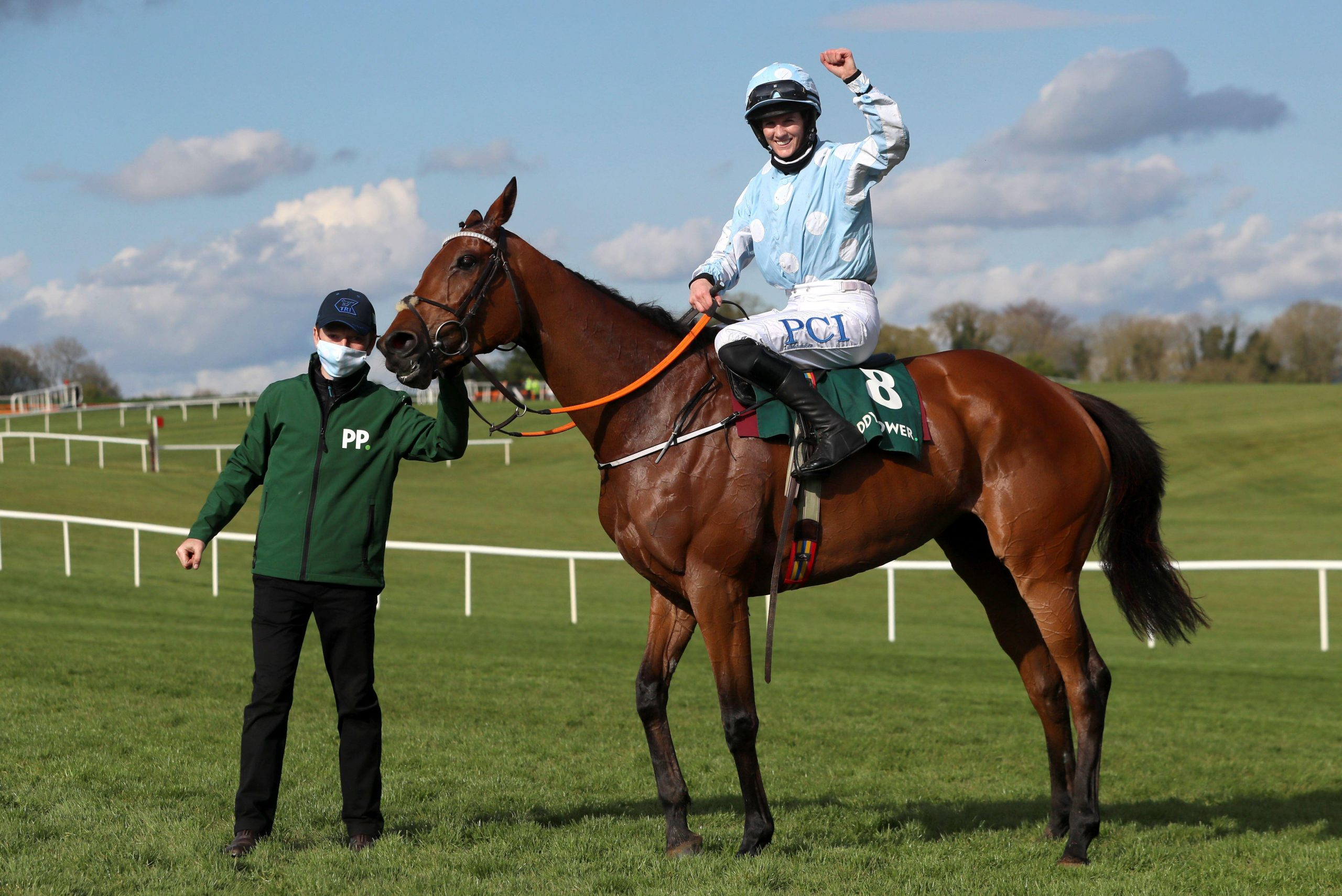 2FKCG3F Jockey Rachael Blackmore celebrates after winning the Paddy Power Champion Hurdle with Honeysuckle, during Day Four of the Punchestown Festival at Punchestown Racecourse in County Kildare, Ireland. Issue date: Friday April 30, 2021.