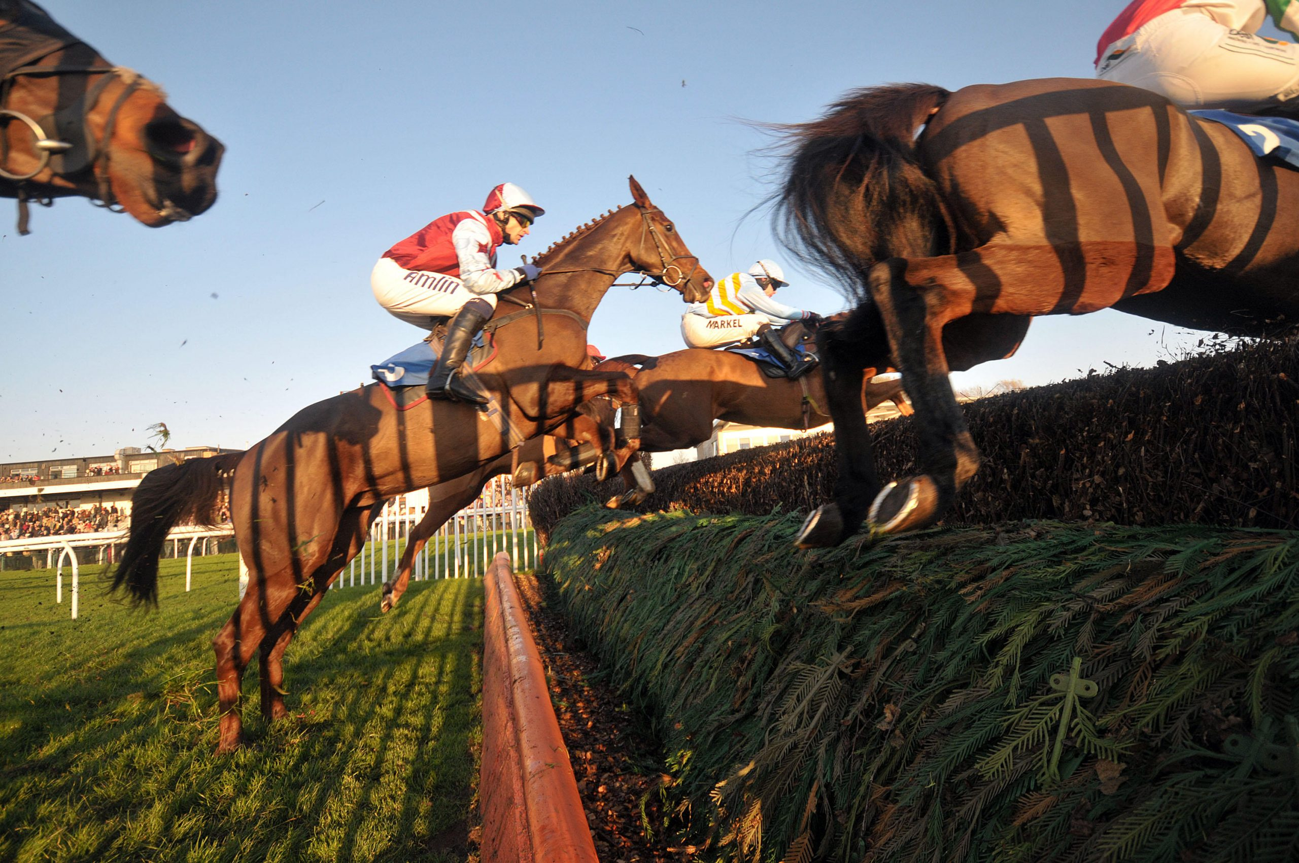 Horses take the open ditch in front of the stands in the toteswinger Handicap Chase at Huntingdon Racecourse, Brampton, Cambridgeshire - 19/11/2011 - CREDIT: Martin Dalton/TGSPHOTO