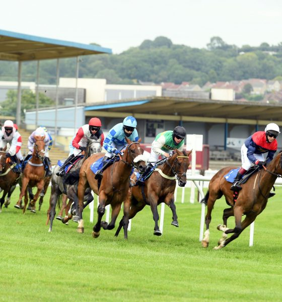 2C675WT Ashuter and Harry Cobden (red cap) on the way to winning the Ogwell Novices' Hurdle at Newton Abbot Racecourse.
