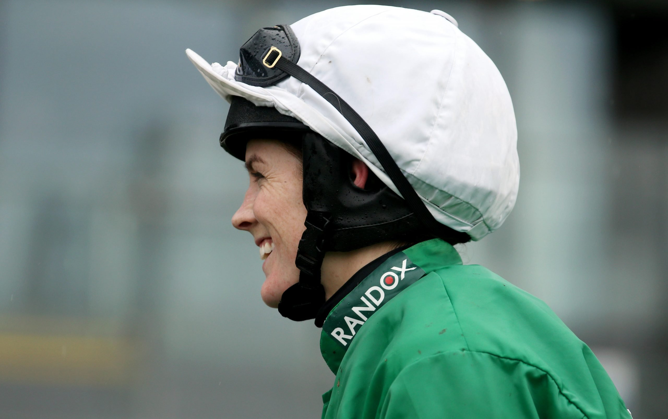 T3GY49 Jockey Rachael Blackmore celebrates winning the Close Brothers Red Rum Handicap Chase during Grand National Thursday of the 2019 Randox Health Grand National Festival at Aintree Racecourse.
