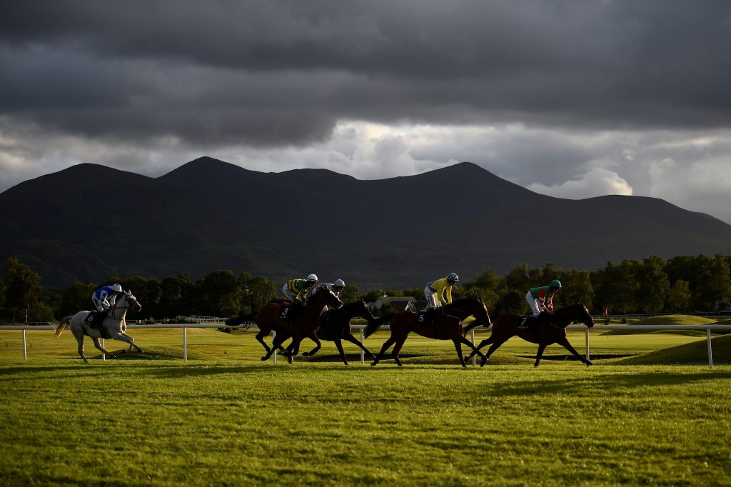 """2CHB688 Riders compete in a race at the Killarney Racecourse in County Kerry in Killarney, Ireland, July 19, 2017. REUTERS/Clodagh Kilcoyne SEARCH """"KILCOYNE RACING"""" FOR THIS STORY. SEARCH """"WIDER IMAGE"""" FOR ALL STORIES."""
