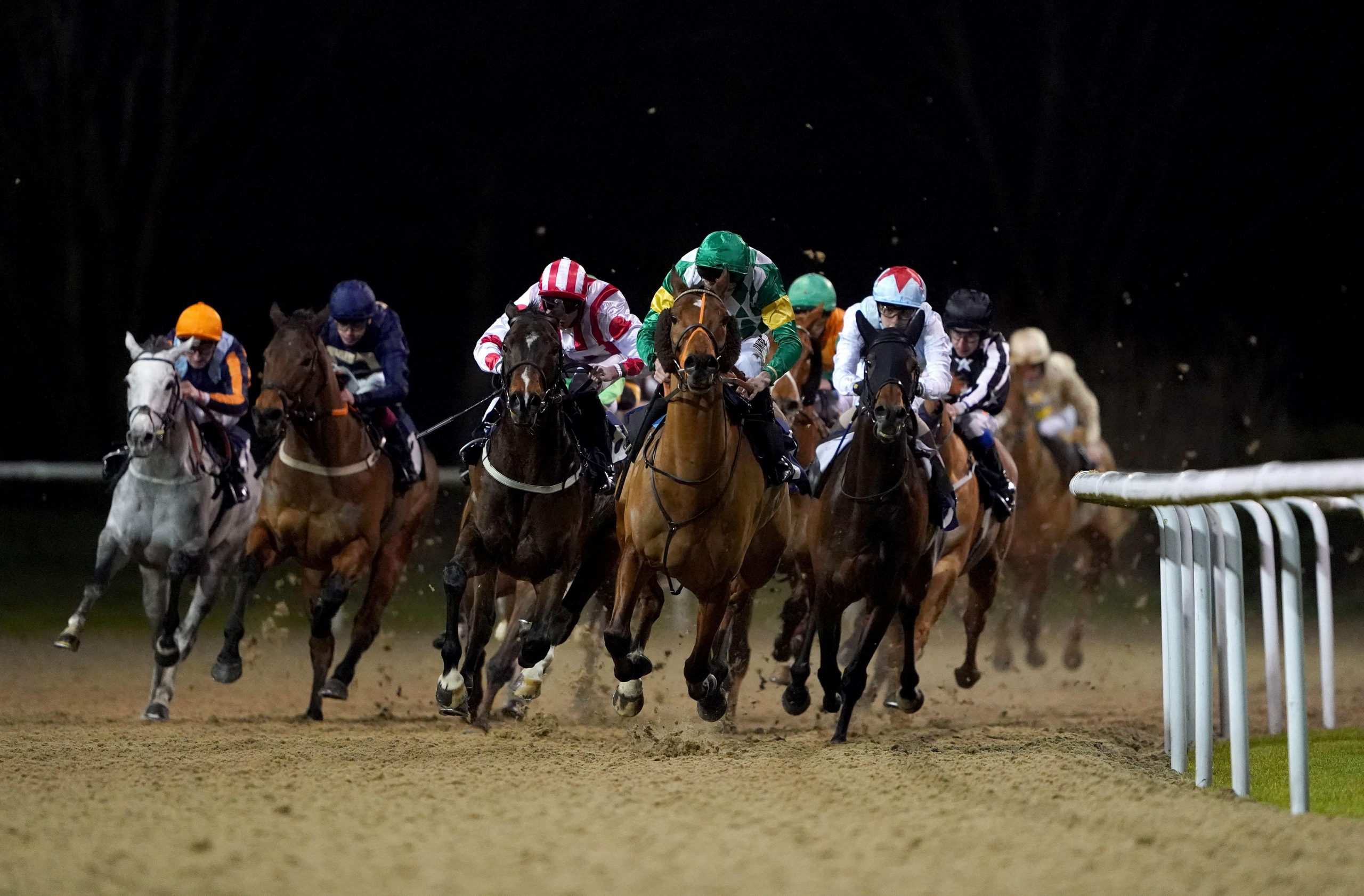 2BADFF8 Riders during the #betyourway At Betway Handicap (Class 5) at Wolverhampton Racecourse.