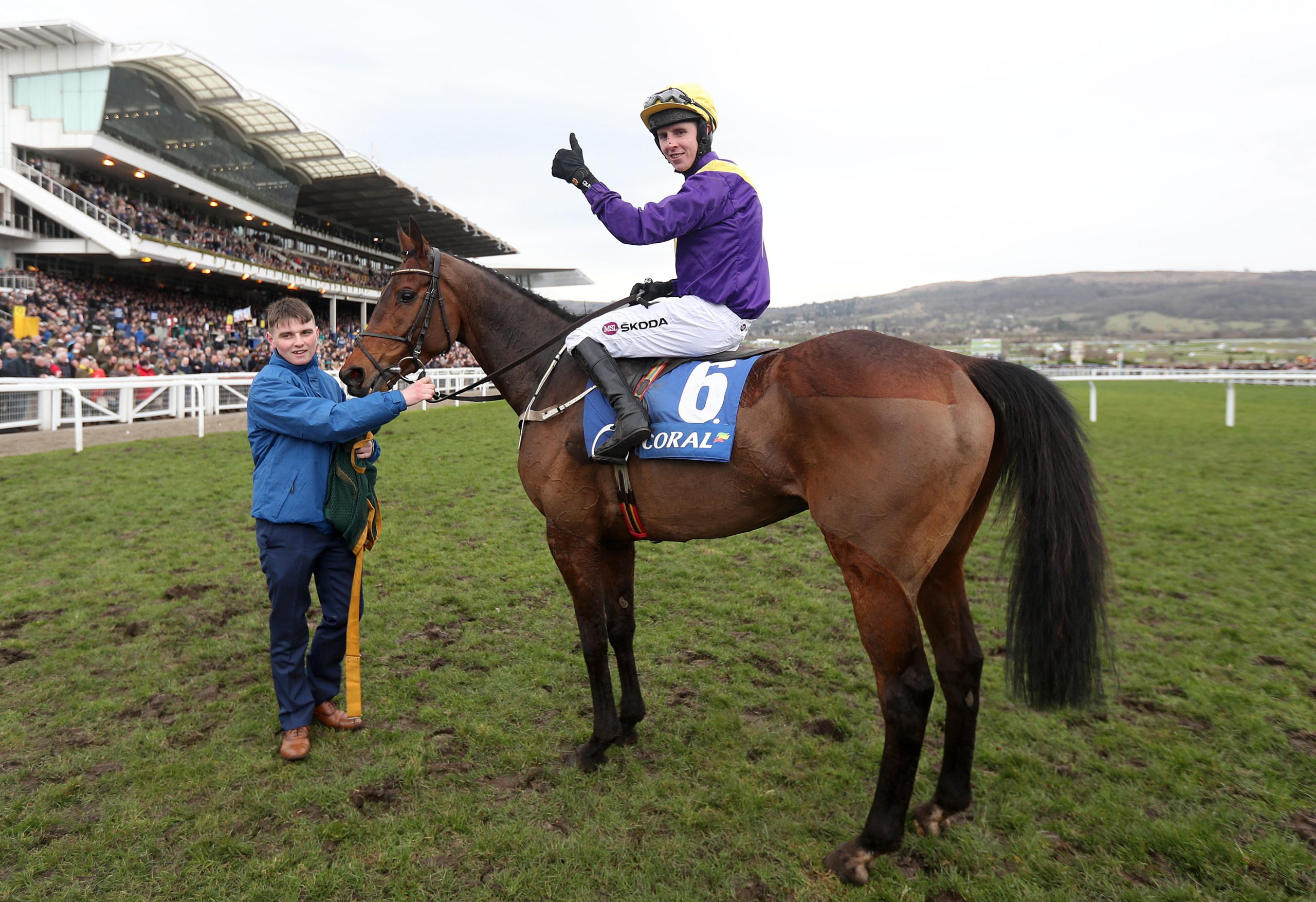 M848M3 Mark Walsh celebrates on Bleu Berry after winning the Coral Cup Handicap Hurdle during Ladies Day of the 2018 Cheltenham Festival at Cheltenham Racecourse.