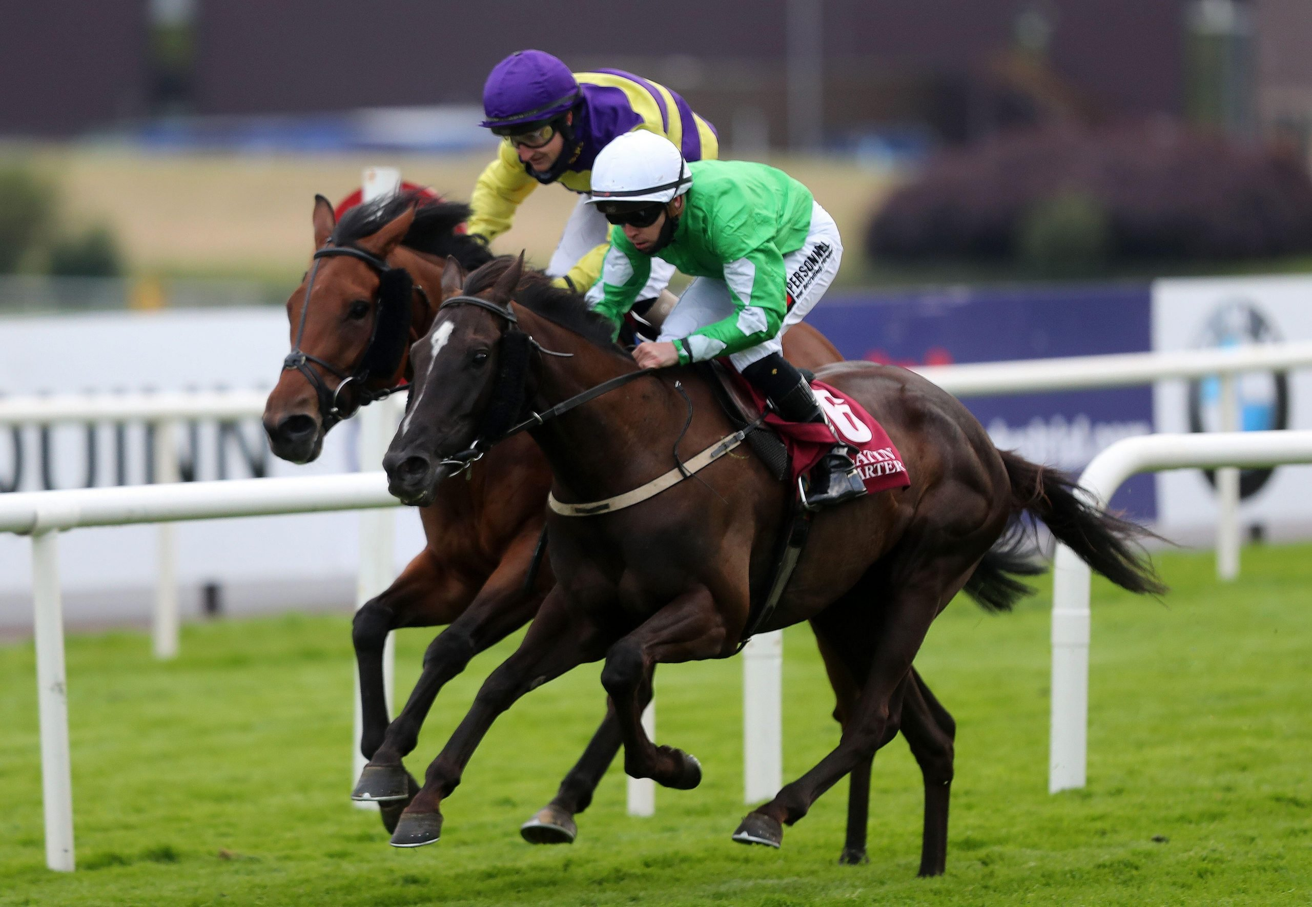 2C93MXE Walking On Glass ridden by Leigh Roche (right) wins the Latin Quarter Handicap (50-80) during day two of the 2020 Galway Races Summer Festival at Galway Racecourse.