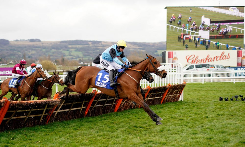 2F46HRM Milkwood ridden by Robert Dunne clears a fence whilst competing in the McCoy Contractors County Handicap Hurdle during day four of the Cheltenham Festival at Cheltenham Racecourse. Picture date: Friday March 19, 2021.